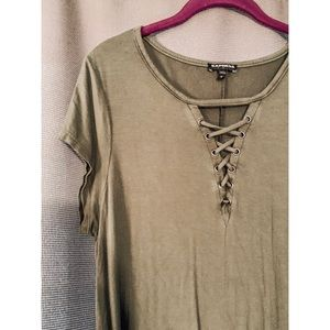 Olive Green T-Shirt Dress with Lace Up front